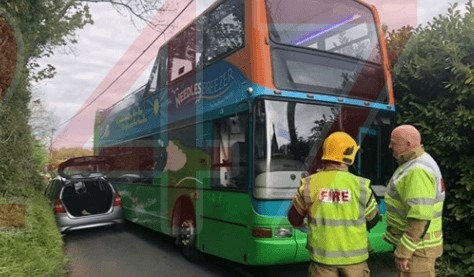 isle of wight fire crews called to bus vs car collision in the west wight