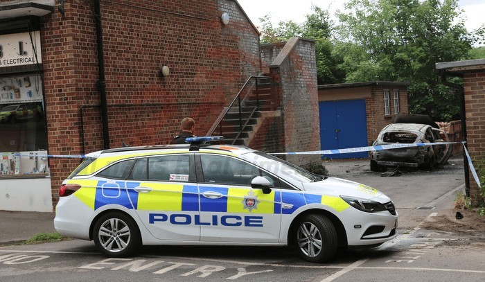 man turns himself and car into fireball after argument with partner in bookham