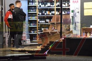 pensioner ploughs into wine shop