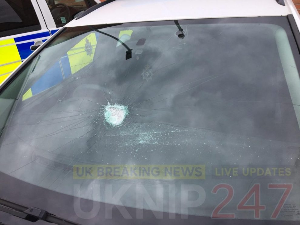 reckless behaviour after rocks thrown at moving police car