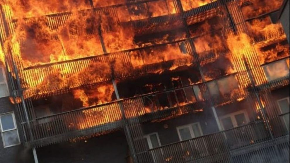 barking blaze that ripped through six floors started by a barbecue