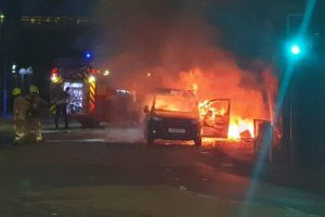 fire crews called after van explosion in dartford