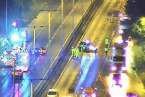 two arrests after pair found badly burnt on the a406 in ilford
