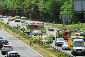 updatedmultiple vehicle collision on m3 motorway near eastleigh