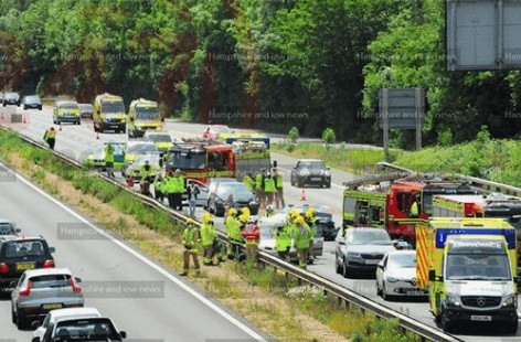 UPDATED:Multiple vehicle collision on M3 motorway  near Eastleigh, UKNIP