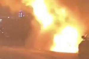 fire crews called to van engulfed in fire ball