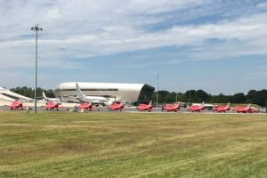 red arrow plane met by emergency services at farnborough airport