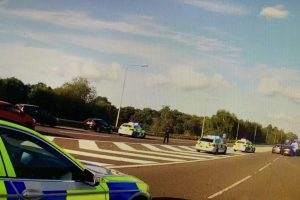two arrested following vehicle pursuit on busy m3 motorway