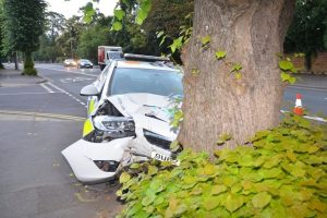 two police officers taken to hospital following head on smash with a tree