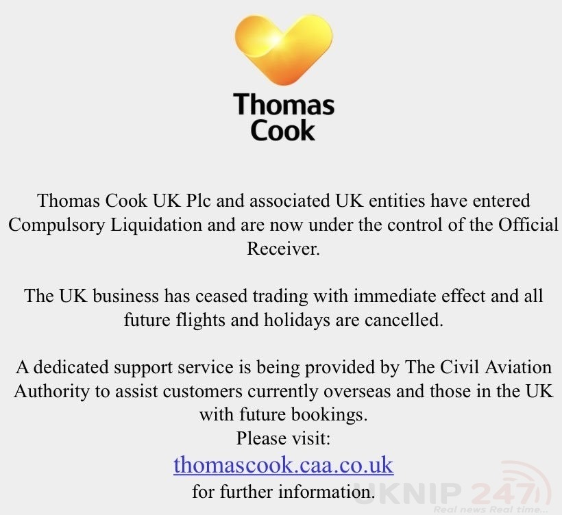 Thomas Cook Cease Trading