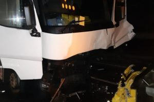 hgv ploughs into back of roadworks lorry on the m1