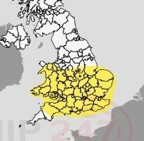 yellow weather warning in force across the south and south coast