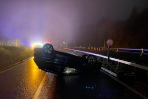 driver failed to remain and explain after rolling car on the a3 and making off