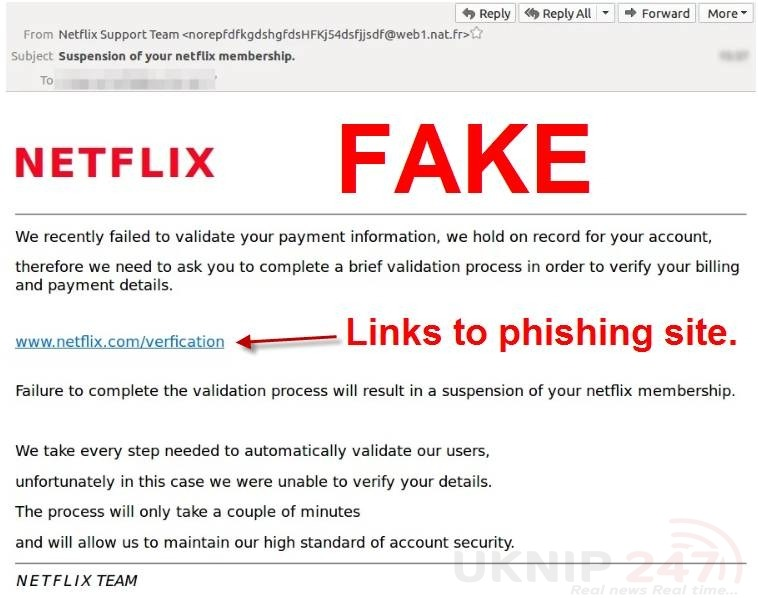 fake netflix payment requests being sent by scammers