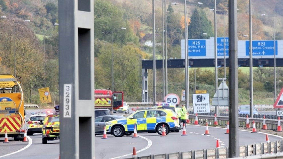 person thrown from vehicle and killed in roadworks on the m23 motorway