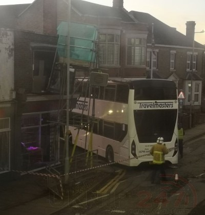 school bus ploughs into scaffolding on sheerness