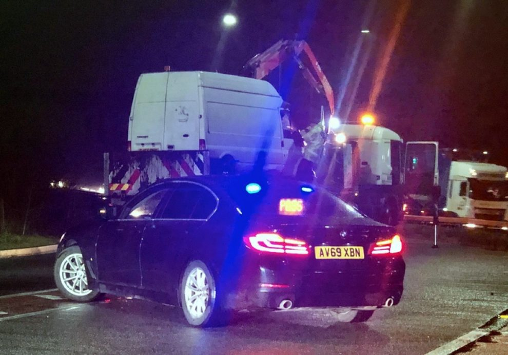 A249 Gridlocked  With Hundred Trapped After Van Ploughs Into Central Barrier
