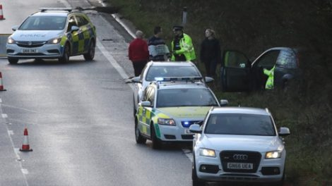 Car Leaves The Carriageway On The  A21 Sevenoaks By Pass