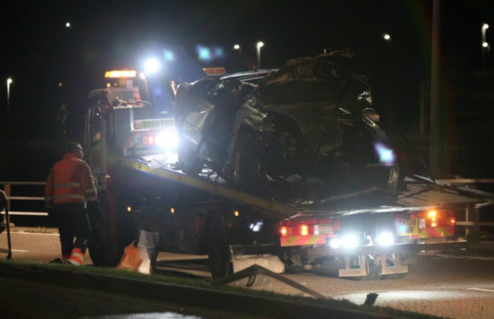 Carnage On Bluewater Parkway  After Driver Wipes Out Into Central Barrier