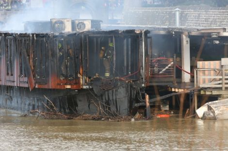 Fire Crew Tackle Boat Ablaze On The River Medway In Kent