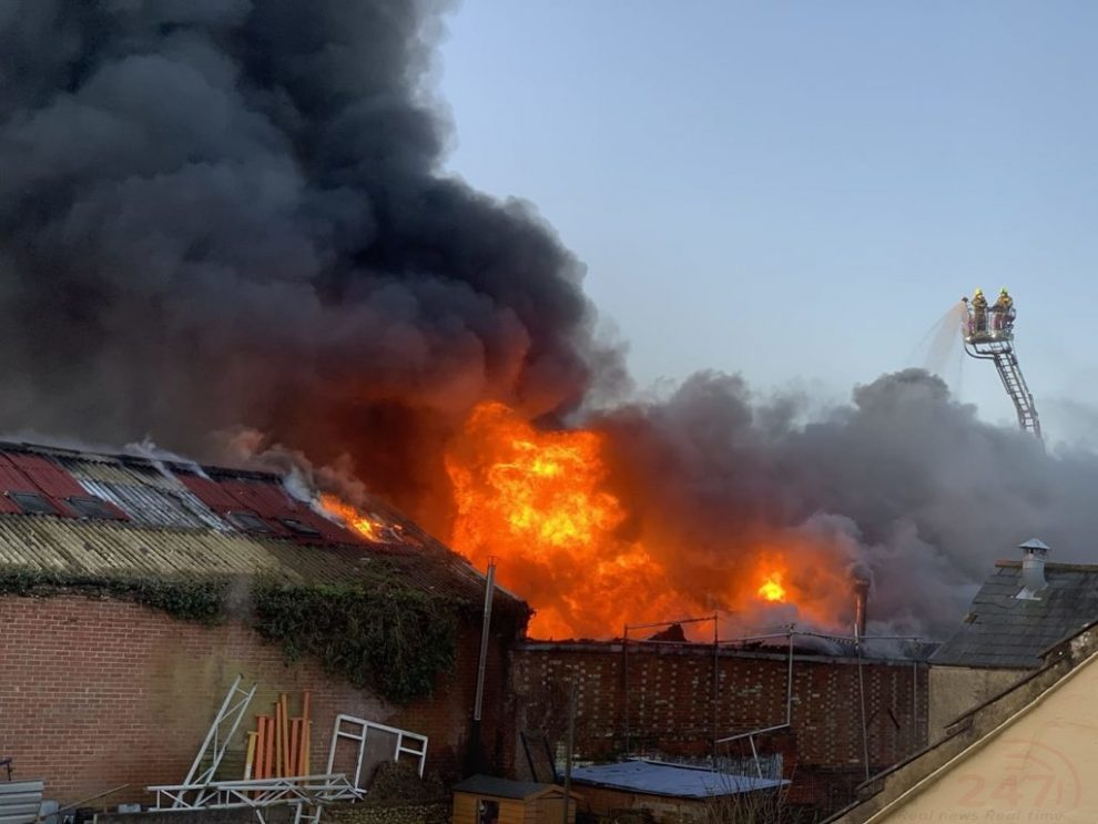 Fire Crews From Three Counties Tackle Workshop Engulfed In Flames