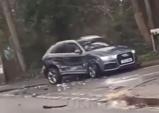 Watch shocking footage of a driver going on a wrecking spree in Longfield in Kent, UKNIP