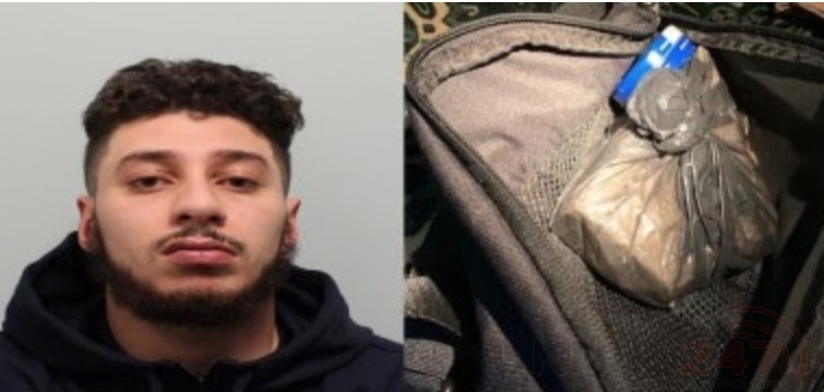 A drug dealer who was caught with half a kilogram of cocaine, thousands of pounds in cash and a knife, after police stopped the minicab he was travelling in, has been jailed