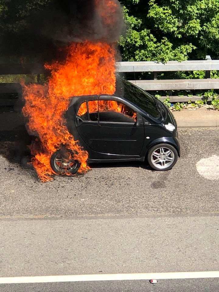 Delays on the A2 near Eltham after car is engulfed in flames, UKNIP