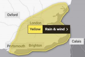 The Met Office has issued a rain and wind warning for Southeast England on Saturday, UKNIP